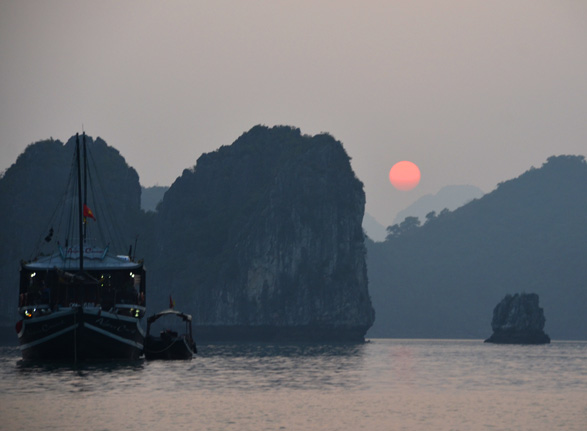 Sunset in Halong Bay, Vietnam